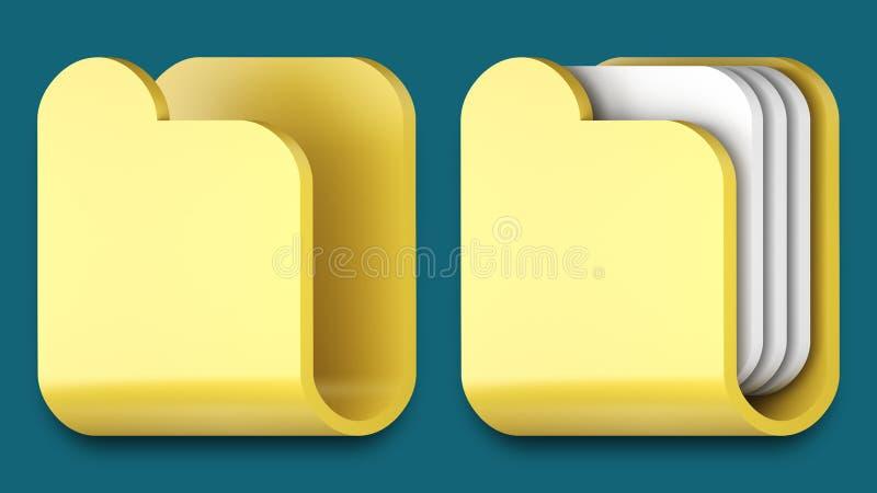 Iconos de la carpeta para las aplicaciones del iphone y del ipad. stock de ilustración
