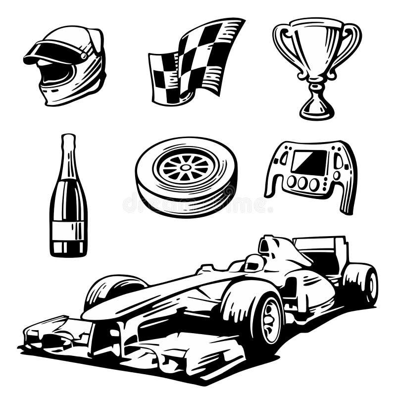 Iconos de la carrera de coches fijados El casco, rueda, neumático, velocímetro, taza, bandera, Vector el ejemplo plano en el fond ilustración del vector