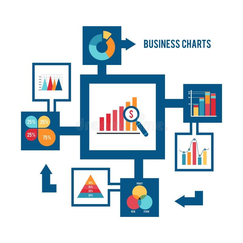 Iconos de la carta de negocio fijados ilustración del vector