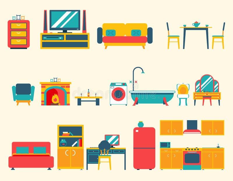 Iconos de la casa de los muebles y sistema de símbolos interiores stock de ilustración