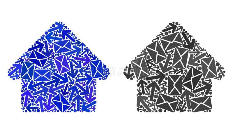 Iconos de la casa del collage de las maneras del poste libre illustration