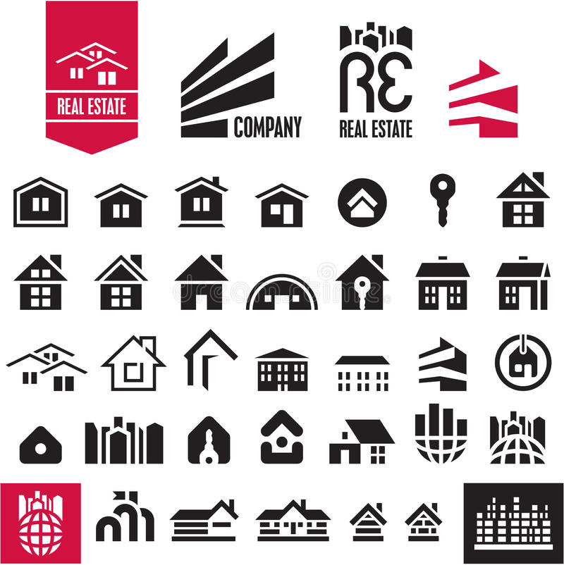 Iconos de la casa. Propiedades inmobiliarias. stock de ilustración