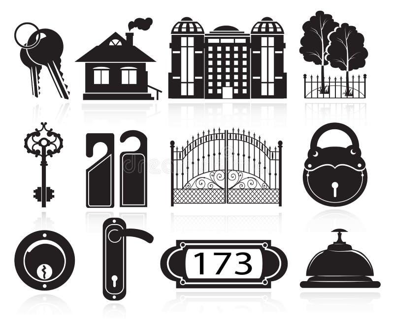 Iconos de la casa y del hotel stock de ilustración