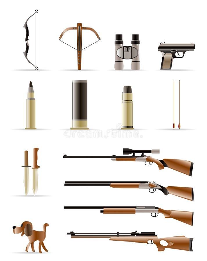 Iconos de la caza ilustración del vector