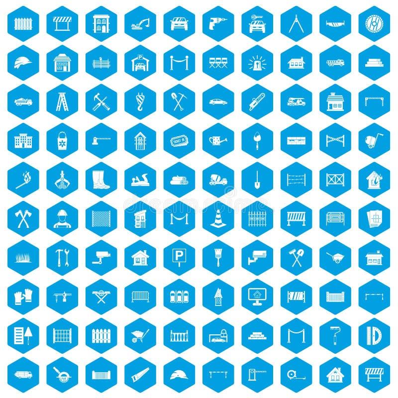 100 iconos de la cerca fijados azules stock de ilustración