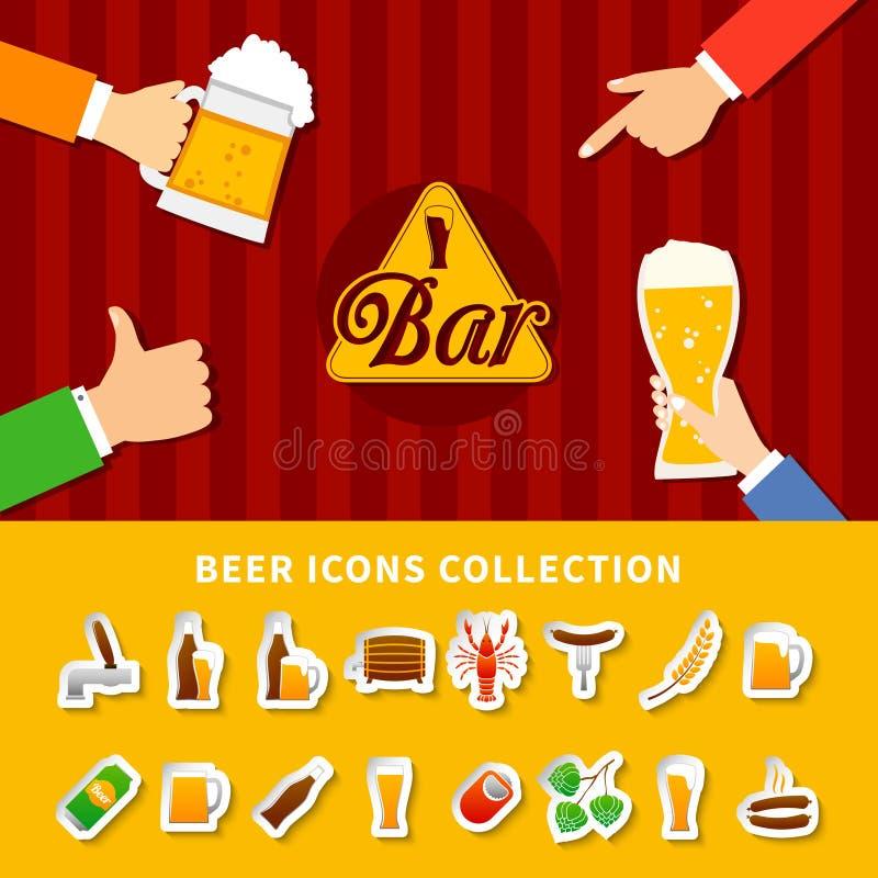 Iconos de la cerveza fijados libre illustration