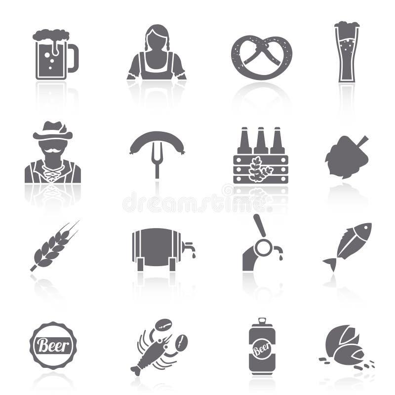 Iconos de la cerveza fijados negros ilustración del vector