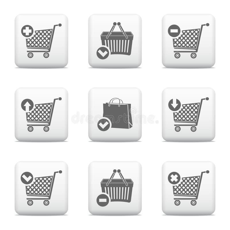Iconos de la cesta del carro de la compra y de compras ilustración del vector