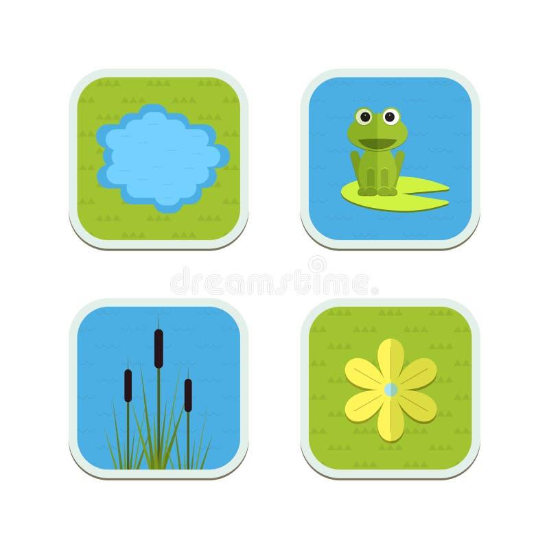 Iconos de la charca del jardín del vector de la historieta con agua, las plantas y los animales stock de ilustración