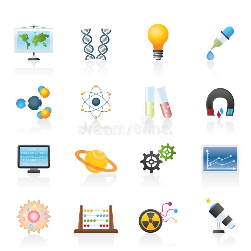 Iconos de la ciencia, de la investigación y de la educación stock de ilustración
