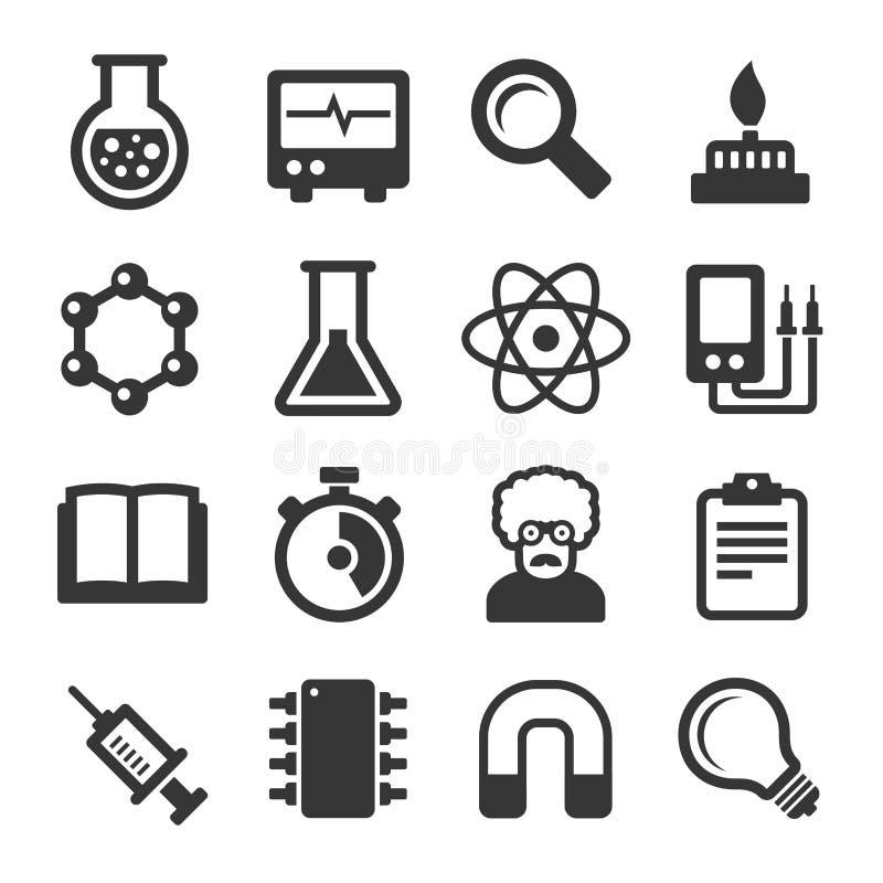 Iconos de la ciencia fijados en el fondo blanco Vector ilustración del vector