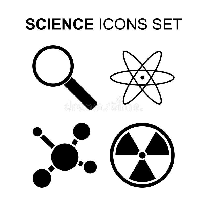 Iconos de la ciencia fijados Ilustración del vector stock de ilustración