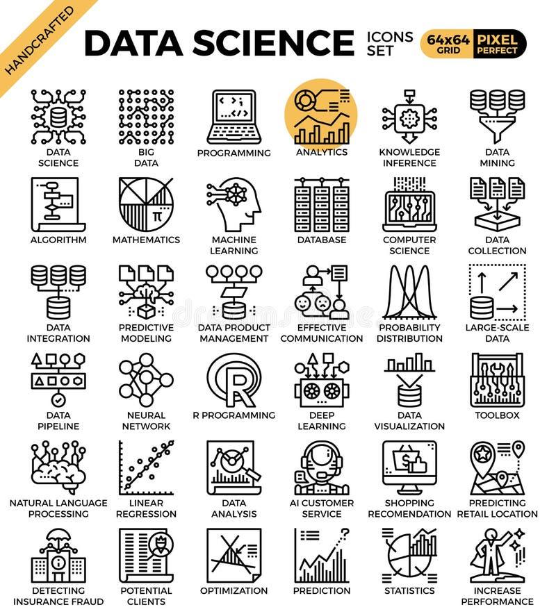 Iconos de la ciencia de los datos ilustración del vector