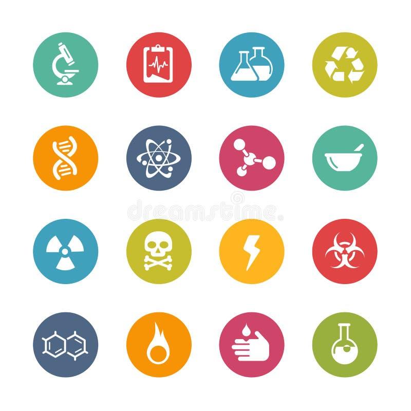 Iconos de la ciencia -- Serie fresca de los colores stock de ilustración