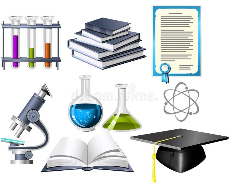 Iconos de la ciencia y de la educación ilustración del vector