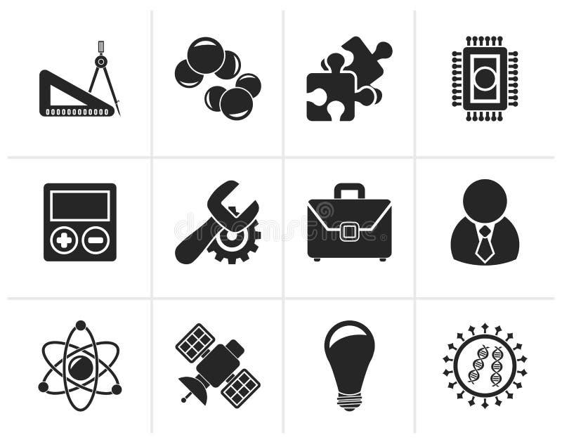 Iconos de la ciencia y de la investigación de la silueta libre illustration