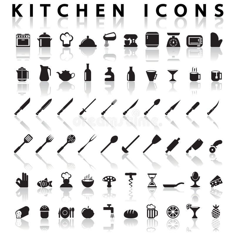Iconos de la cocina stock de ilustración