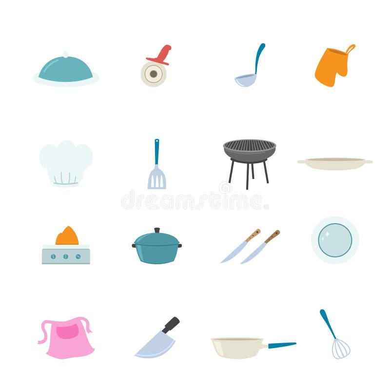 Download Iconos De La Cocina Fijados Ilustración del Vector - Ilustración de cuchillo, mezclador: 42434378