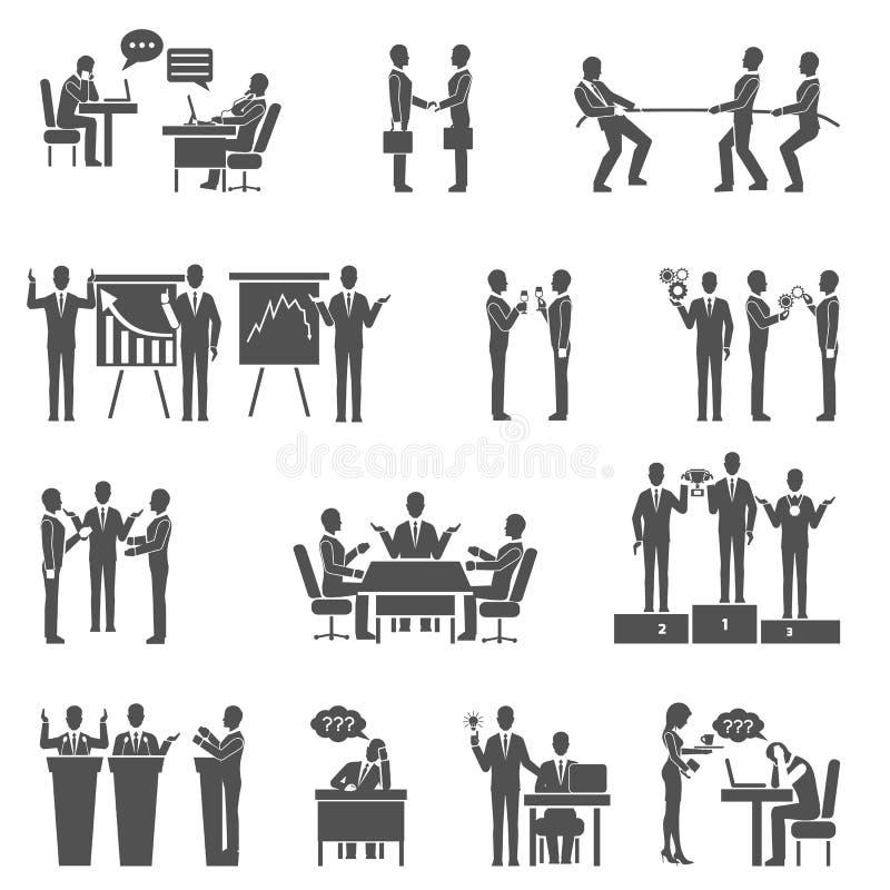 Iconos de la colaboración fijados stock de ilustración
