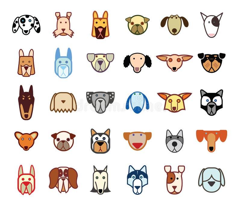 Iconos de la colección de la raza del perro - ejemplo del vector stock de ilustración