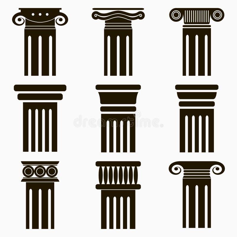 Iconos de la columna Sistema de pilares antiguos de la arquitectura Vector ilustración del vector