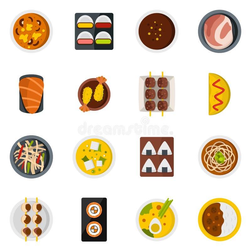 Iconos de la comida de Japón fijados en estilo plano stock de ilustración