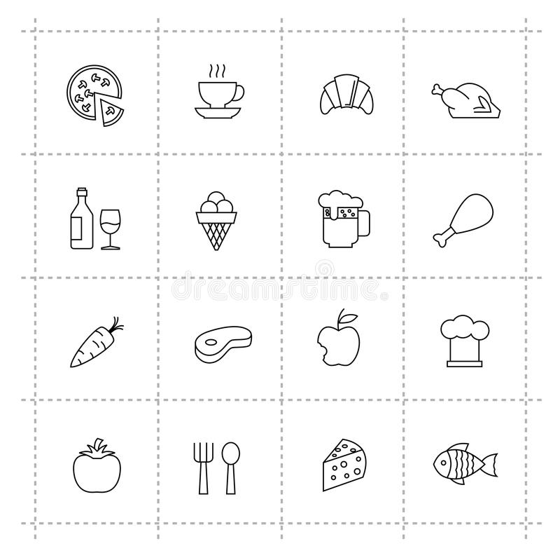 Iconos de la comida del vector fijados en fondo del wite ilustración del vector