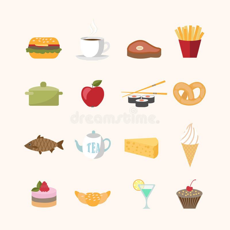 Iconos de la comida en estilo plano libre illustration