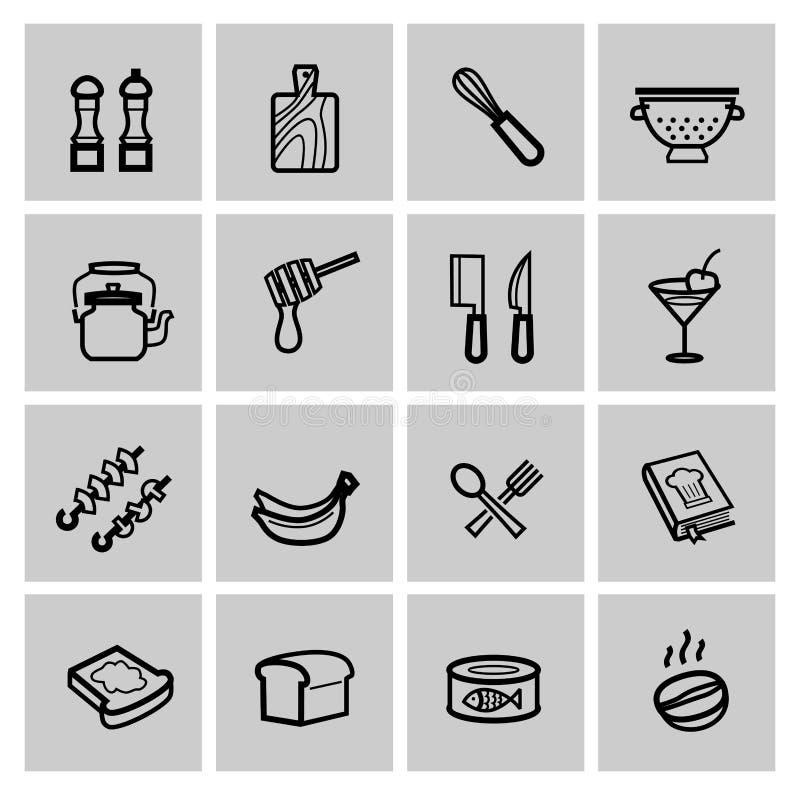 Iconos de la comida fijados ilustración del vector