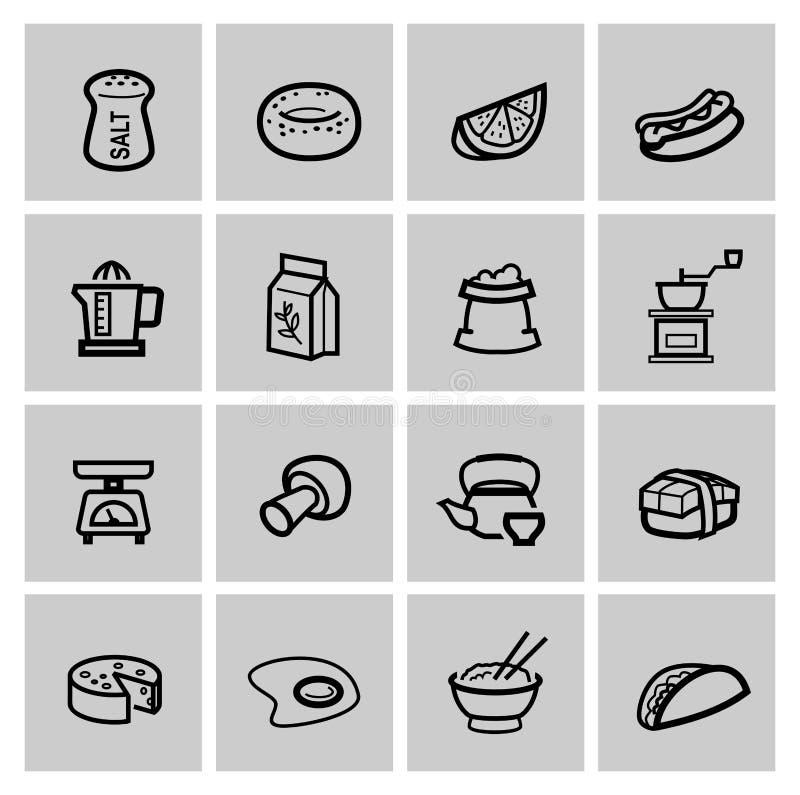 Iconos de la comida fijados stock de ilustración