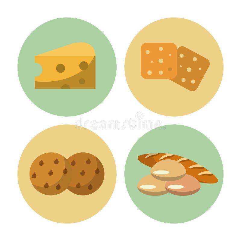 Iconos de la comida de los carbohidratos ilustración del vector