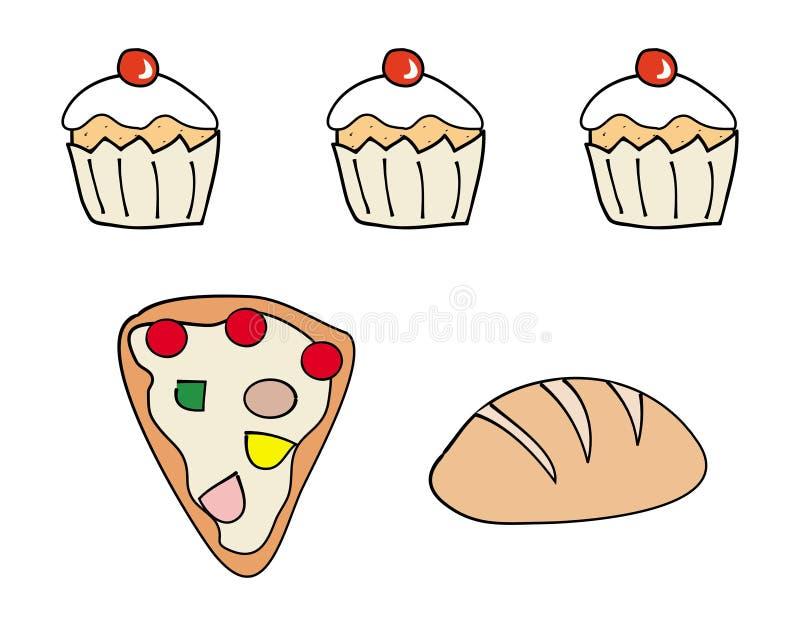Iconos de la comida, torta de la taza, pan, pizza ilustración del vector