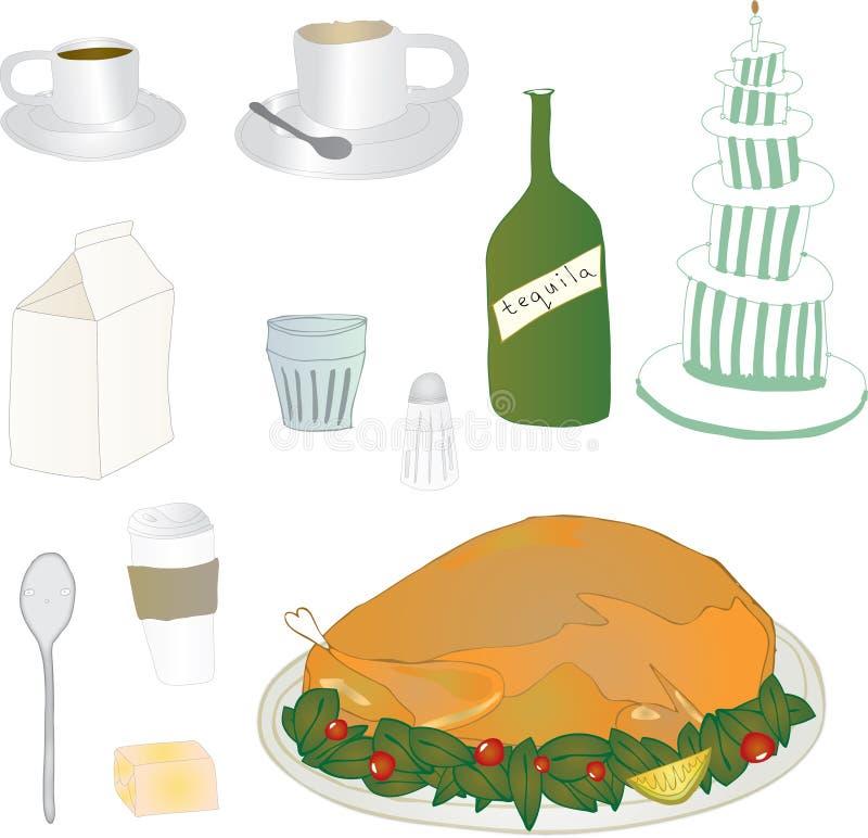 Iconos de la comida y de la bebida fotos de archivo