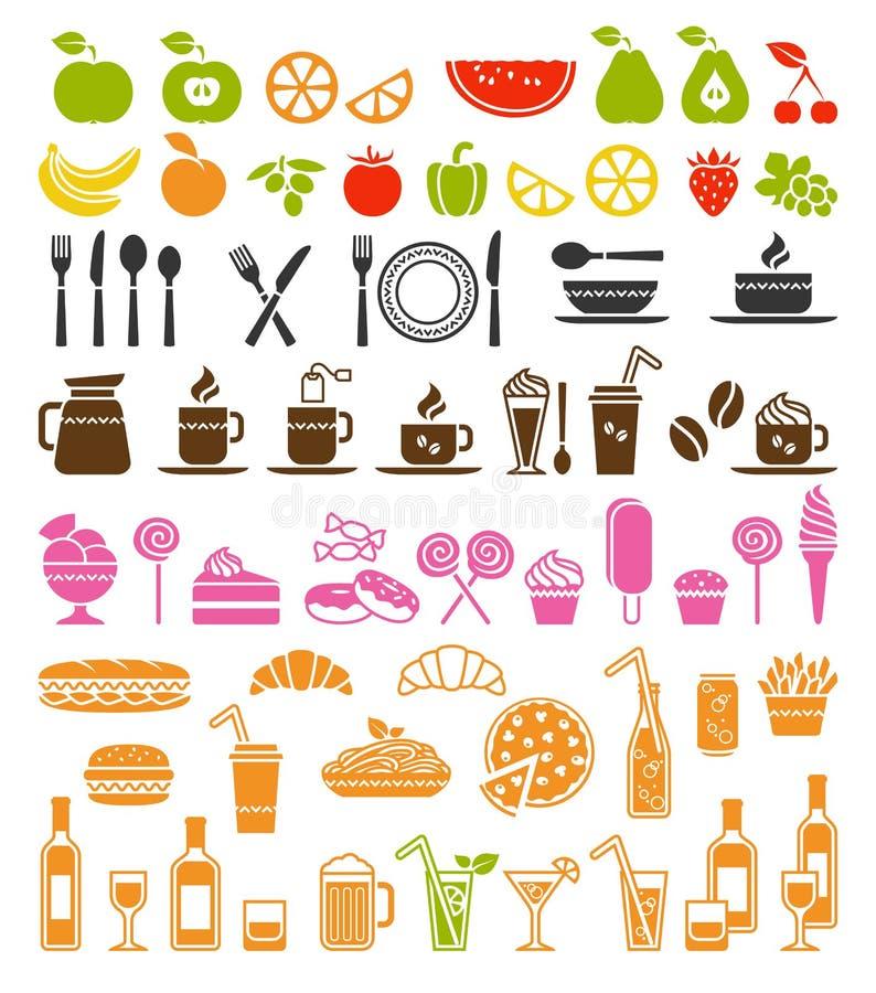 Iconos de la comida y de la bebida ilustración del vector