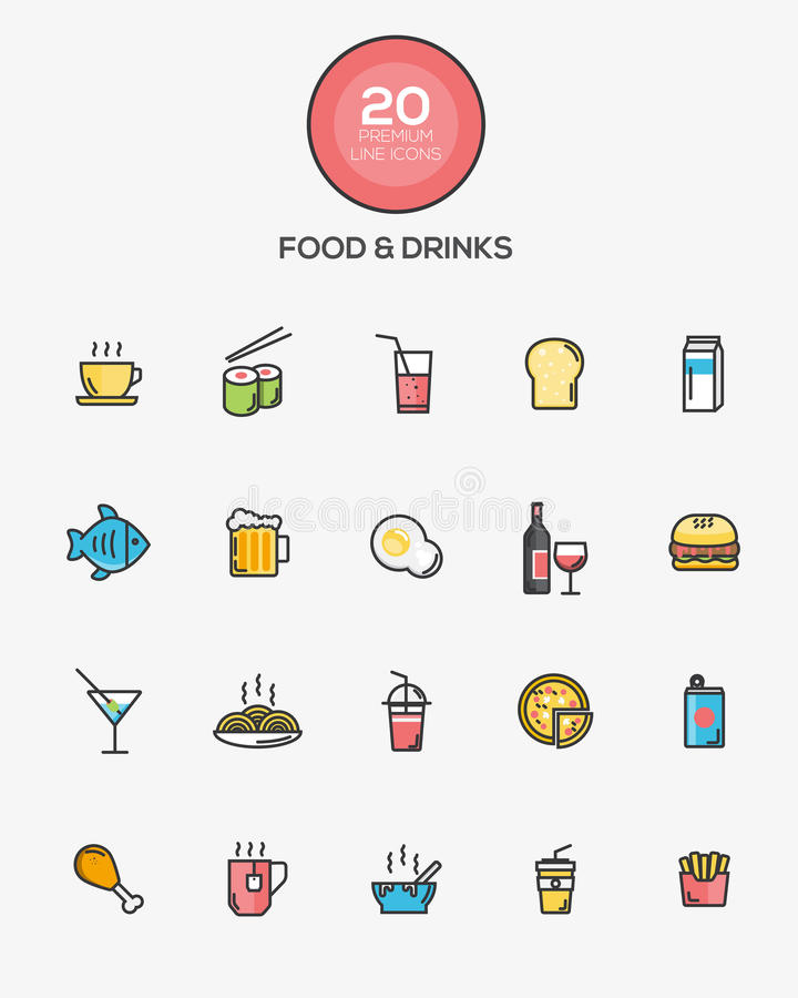 Iconos de la comida y de las bebidas libre illustration