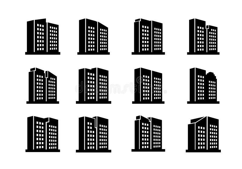 Iconos de la compañía de la perspectiva y sistema de los edificios del vector, colección negra de la oficina en el fondo blanco stock de ilustración