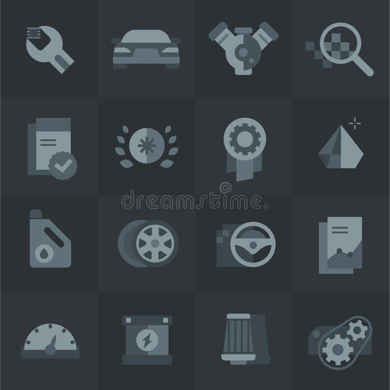 Iconos de la compra y del servicio del coche imagenes de archivo