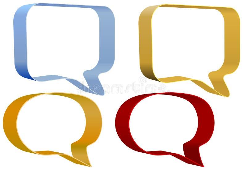 Iconos de la comunicación de las burbujas del discurso de la cinta fijados stock de ilustración