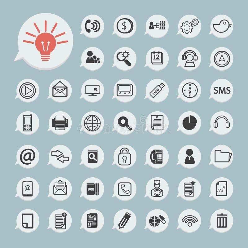 Iconos de la comunicación e icono de la tecnología en el papel azul stock de ilustración