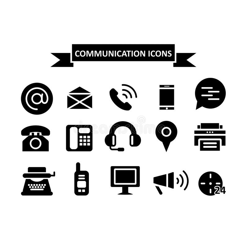 Iconos de la comunicación fijados aislados en el fondo blanco Formas planas negras simples libre illustration
