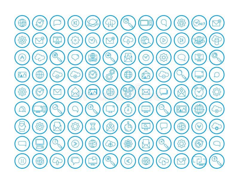 Iconos de la comunicaci?n fijados Sistema de elementos básico de la comunicación UI nube, reloj, engranaje, correo, imagen, web,  stock de ilustración
