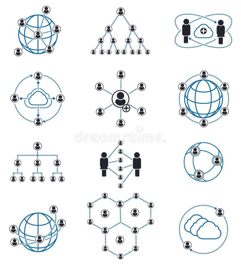 Iconos de la conexión y de la red de la gente stock de ilustración