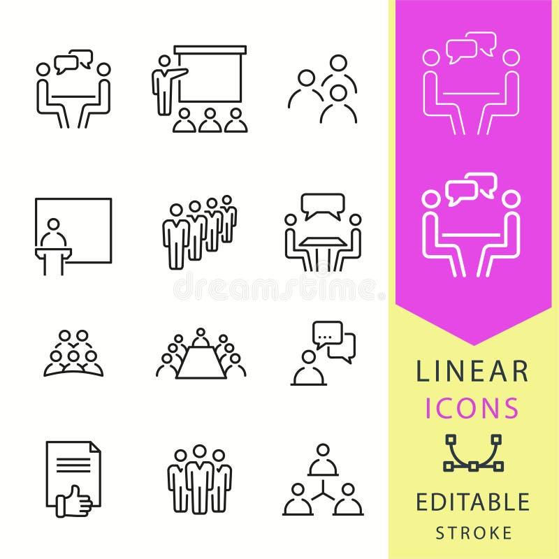 Iconos de la conferencia fijados Ejemplo negro del vector Movimiento Editable libre illustration