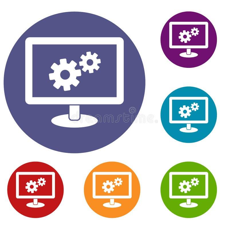 Iconos de la configuración de la pantalla fijados libre illustration