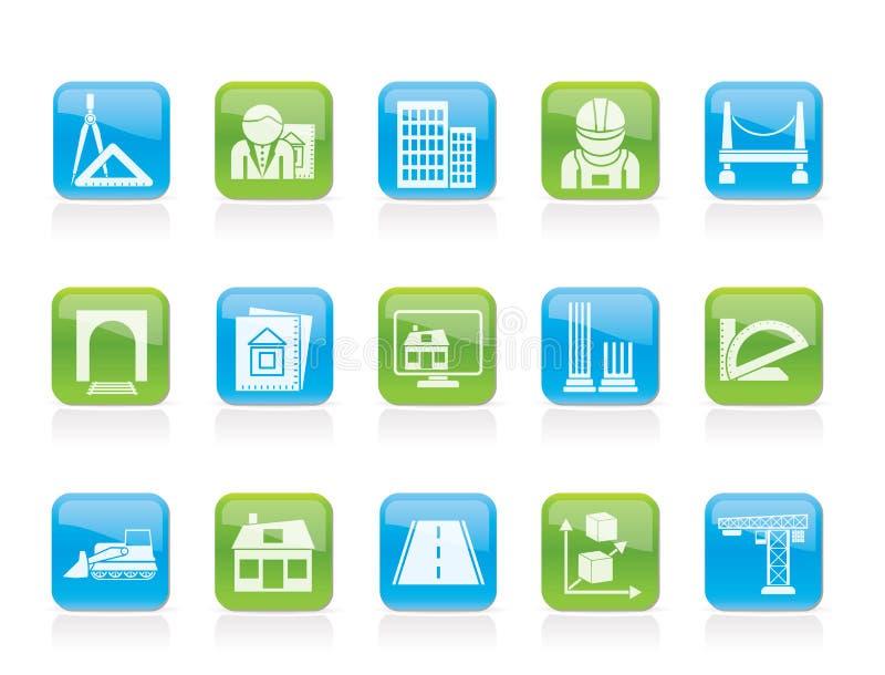 Iconos de la configuración y de la construcción stock de ilustración