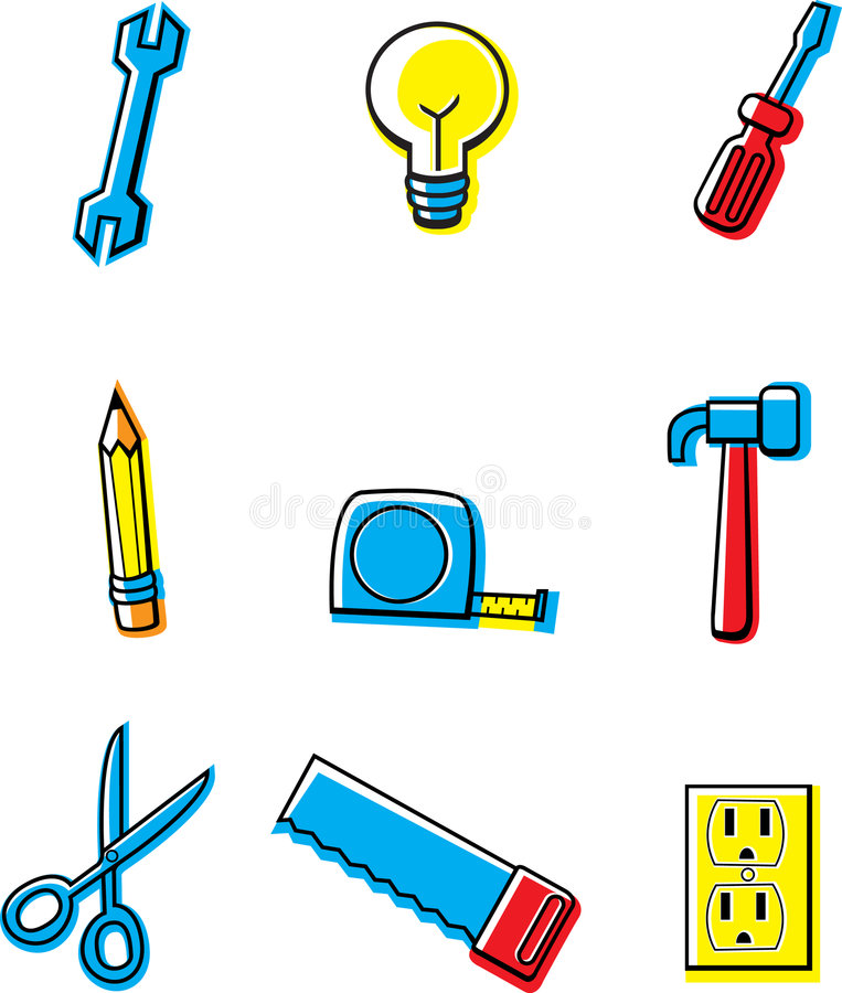 Iconos de la construcción stock de ilustración
