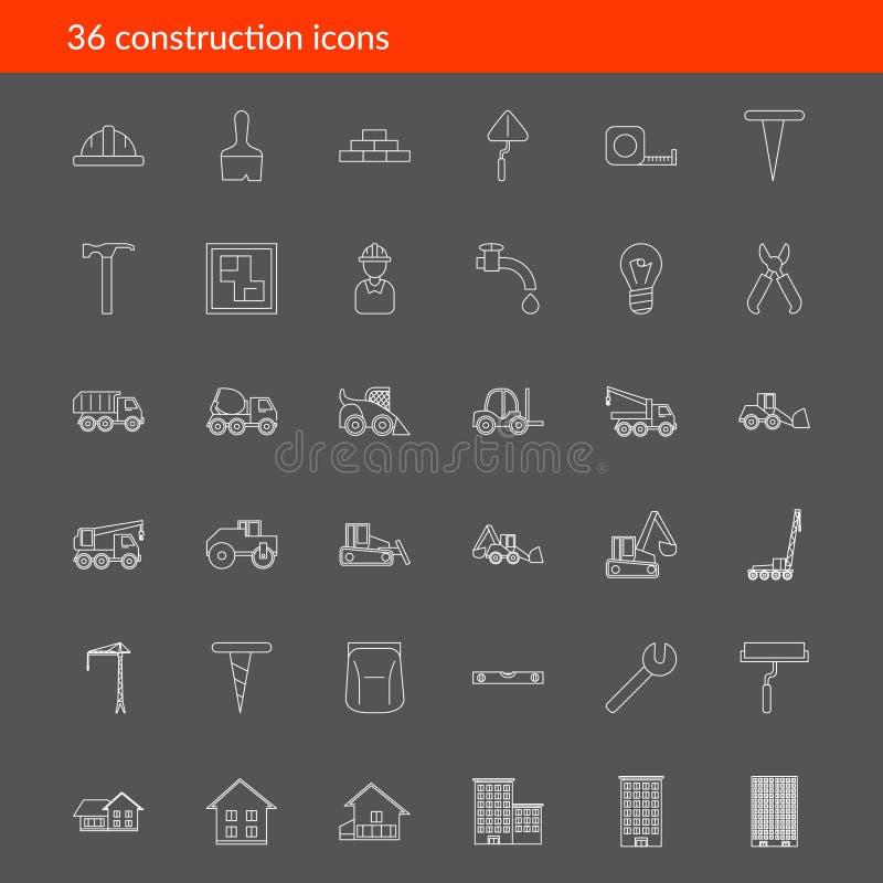 Iconos de la construcción del esquema del vector en fondo oscuro stock de ilustración
