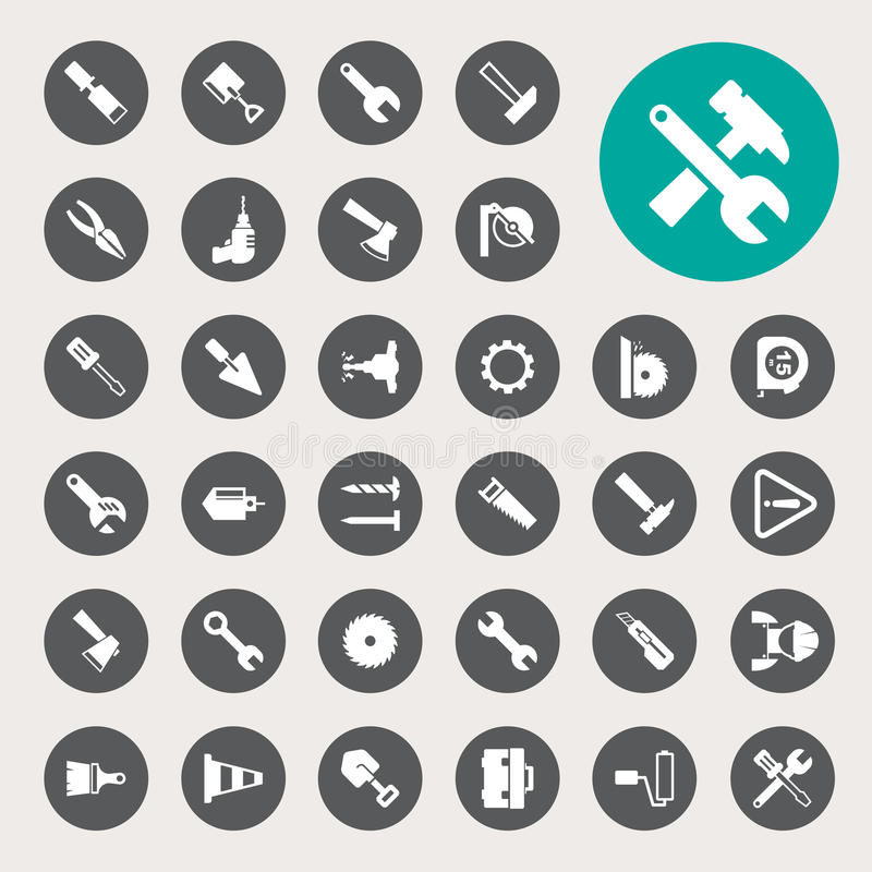 Iconos de la construcción fijados ilustración del vector