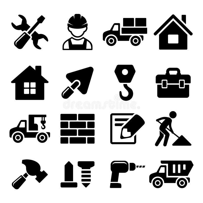 Iconos de la construcción fijados en el fondo blanco Vector libre illustration