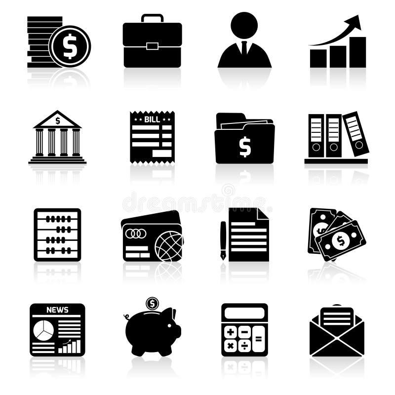Iconos de la contabilidad fijados negros stock de ilustración